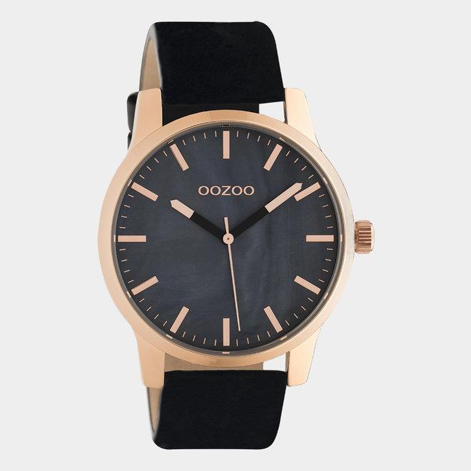OOZOO Timepieces - unisexe - en cuir noir / or rose