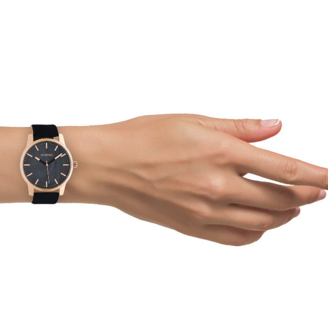 OOZOO Timepieces - unisex - leather black with rose gold