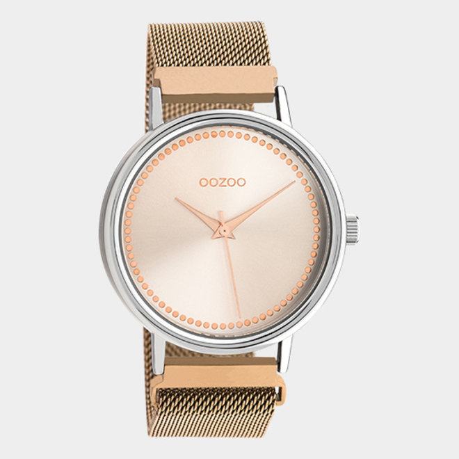 OOZOO Timepieces - unisex - metalen mesh rosé goud met zilveren horlogekast