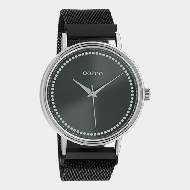 OOZOO Timepieces - unisex - metalen mesh black