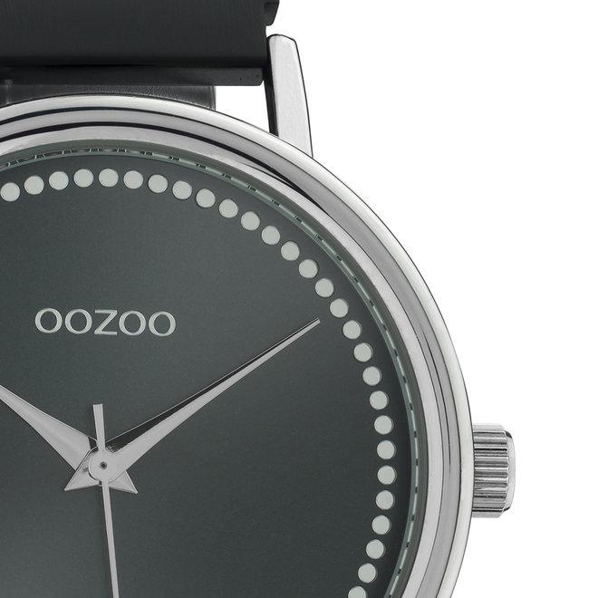 OOZOO Timepieces - unisex - metalen mesh zwartmet zilveren horlogekast