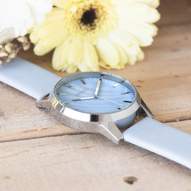 OOZOO Timepieces - unisex - leren licht blauw met zilveren horlogekast