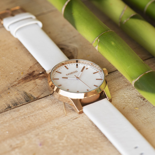 OOZOO Timepieces - unisex - leather white with rose gold