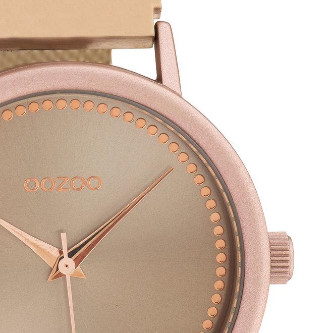 OOZOO Timepieces - unisex - metalen mesh rosé goud met roze horlogekast