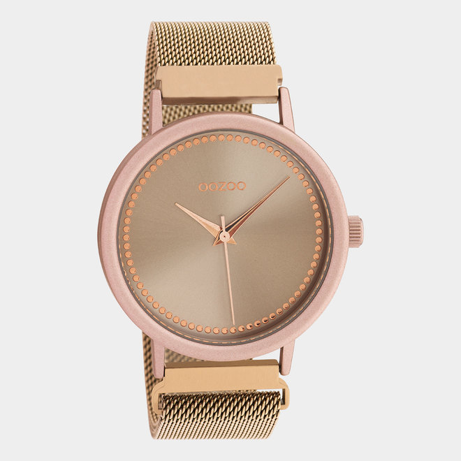 OOZOO Timepieces - unisex - metal mesh rose gold with pink