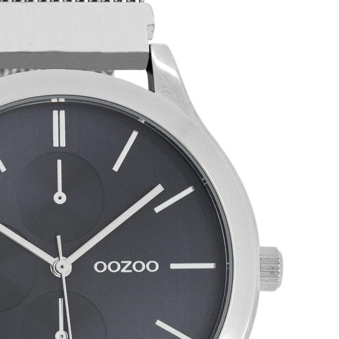 OOZOO Timepieces - unisex - metalen mesh zilver met zilveren horlogekast