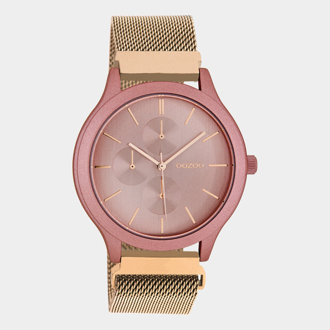 OOZOO Timepieces - unisex - metal mesh rose gold / dark pink