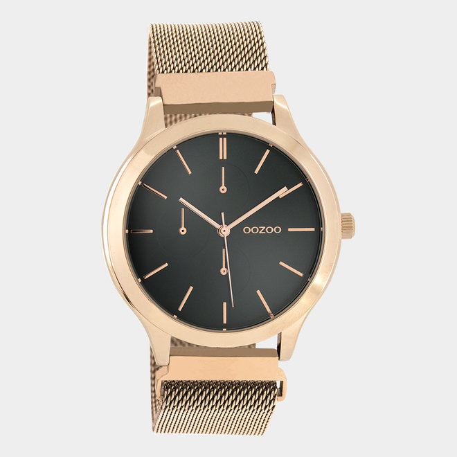 OOZOO Timepieces - unisex - metal mesh rose gold with rose gold