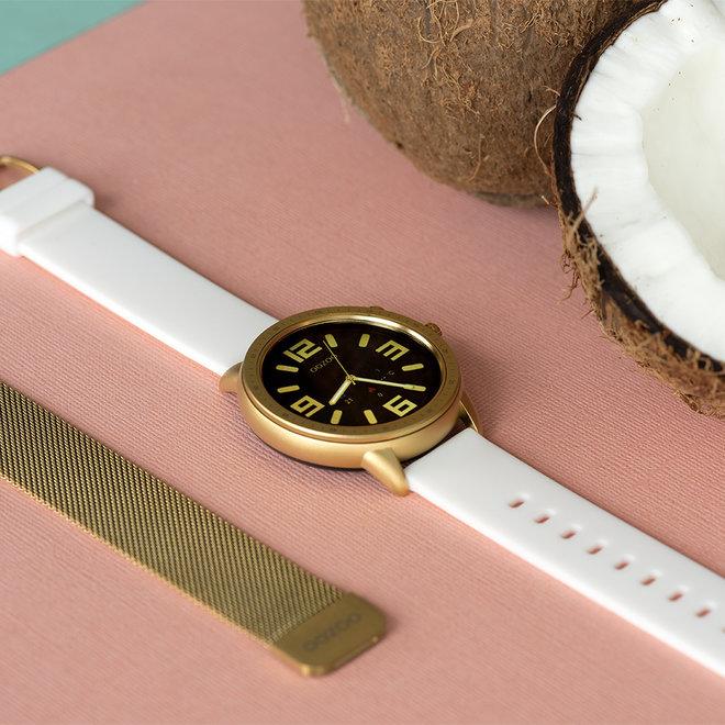OOZOO Smartwatches - unisexe - bracelet en caoutchouc blanc avec boîtier or