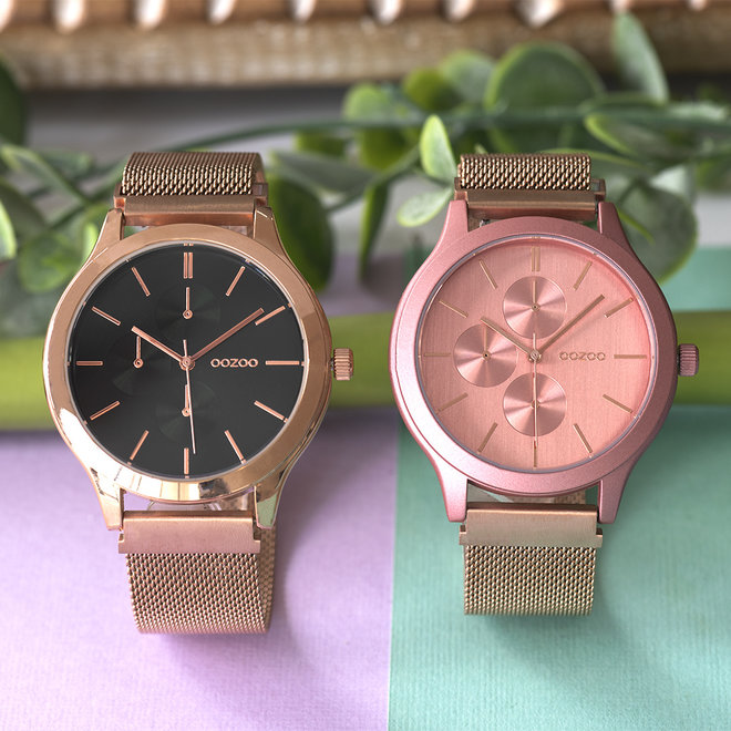 OOZOO Timepieces - unisex - metalen mesh rosé goud met donker roze horlogekast