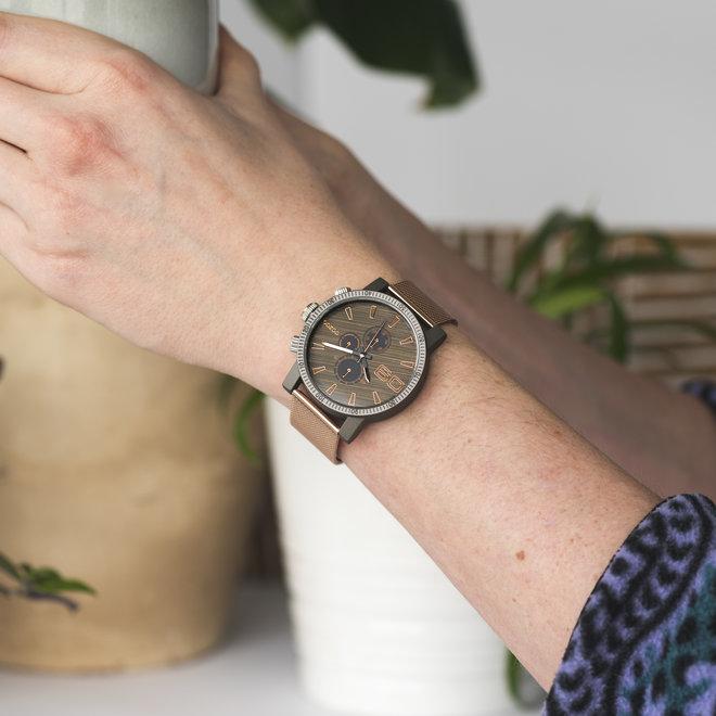 OOZOO Timepieces - unisex - metal mesh rose gold with dark grey