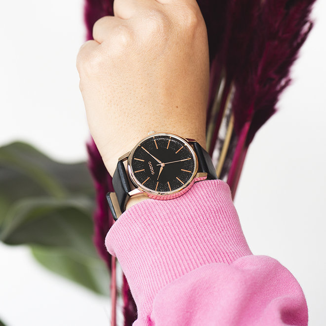 OOZOO Timepieces - ladies - leather black with rose gold