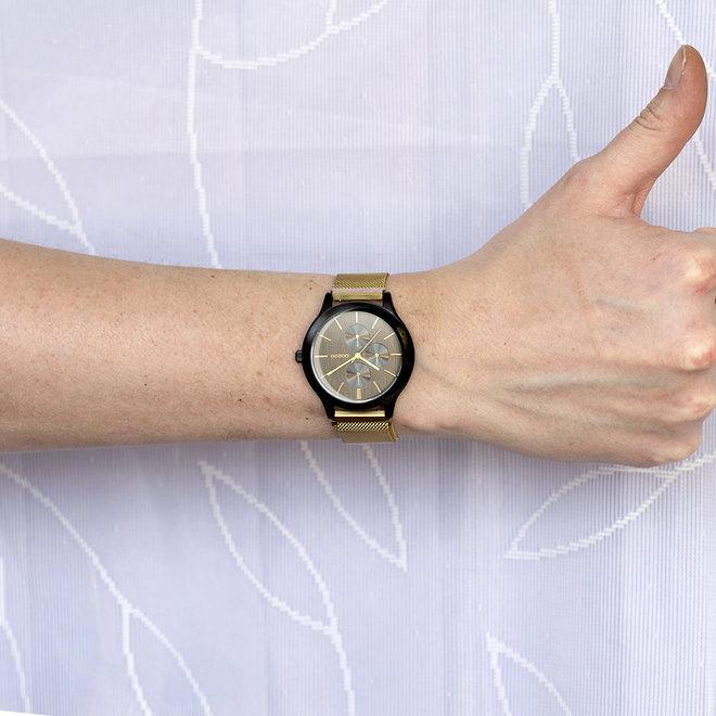 OOZOO Timepieces - unisex - metalen mesh goud met zwarte horlogekast