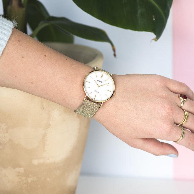 OOZOO Vintage - ladies - leren goud met gouden horlogekast