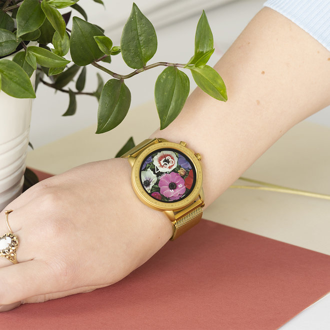 OOZOO Smartwatches - unisex - metal mesh strap gold with gold case