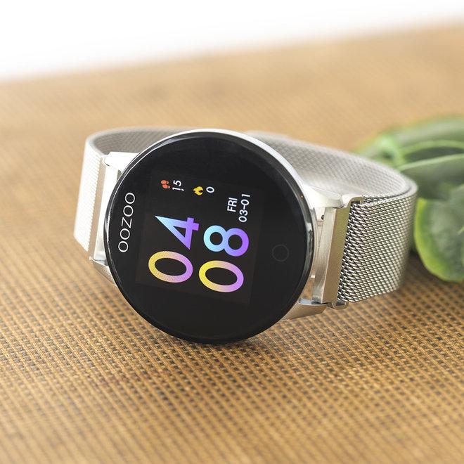 OOZOO Smartwatches - unisex - metalen mesh band zilveren met zilver