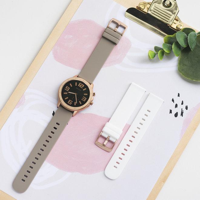 OOZOO Smartwatches - unisex - rubber horlogeband taupe met rosé goud gekleurde kast