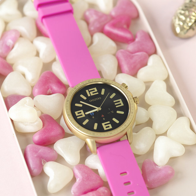 OOZOO Smartwatches - unisex - rubber bracelet raspberry pink