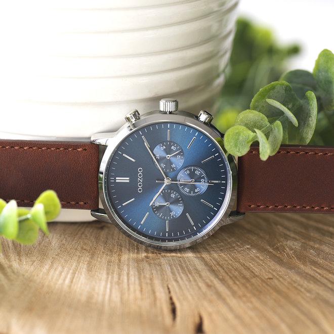 OOZOO Timepieces - heren  - leren band cognac met zilver horlogekast