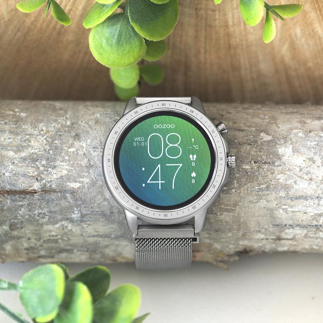 OOZOO Smartwatches - unisexe - bracelet en mesh argent avec boîtier argent
