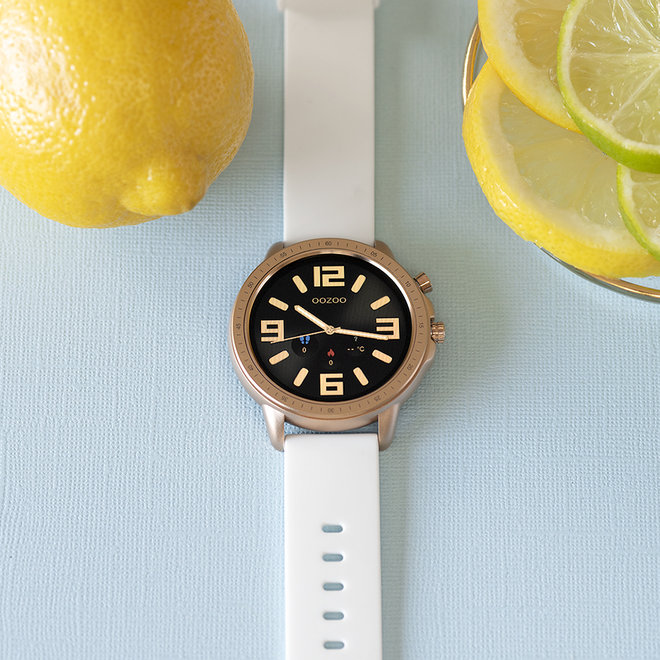 OOZOO Smartwatches - unisex - rubber watch strap white with rose gold case