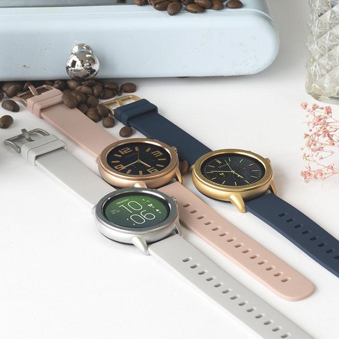 OOZOO Smartwatches - unisexe - bracelet en caoutchouc gris pierre avec boîtier argent
