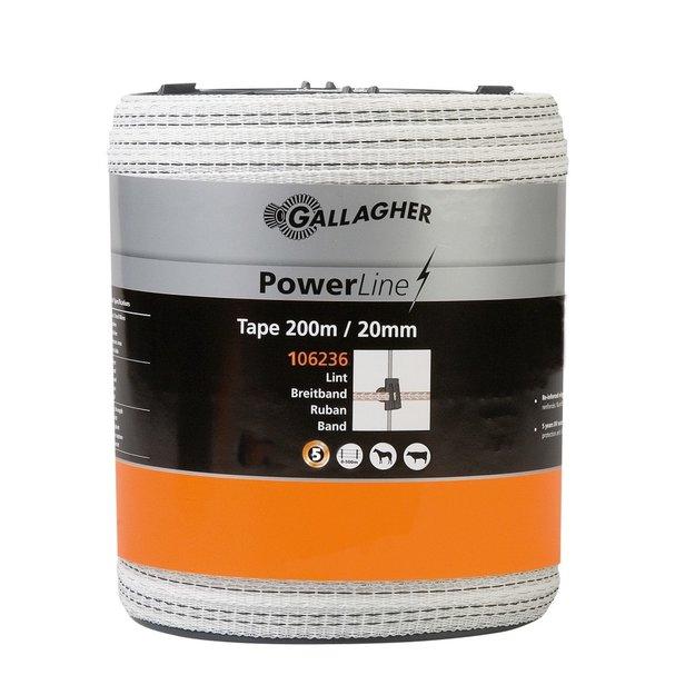Gallagher  200 m/20 mm Gallagher Weidezaunband PowerLine (weiß)