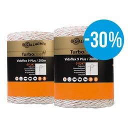2x 200 m Gallagher Duopack Weidezaunlitze Vidoflex 9 (weiß)