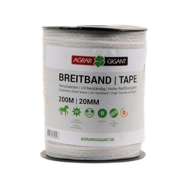 AgrarGIGANT - Basic 200 m/20 mm GIGANT Weidezaunband Basic (weiß)