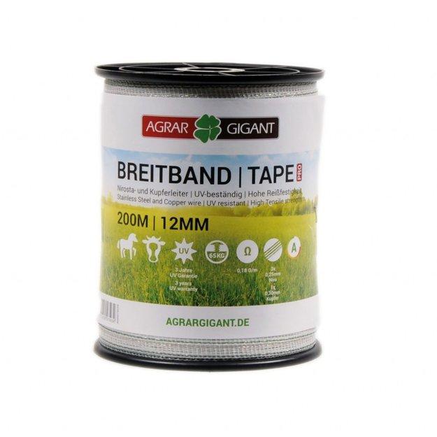 AgrarGIGANT - PRO 200 m/12 mm GIGANT Weidezaunband PRO (weiß/grün)