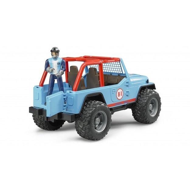 Bruder Bruder Jeep Cross country racer blau mit Rennfahrer 1:16