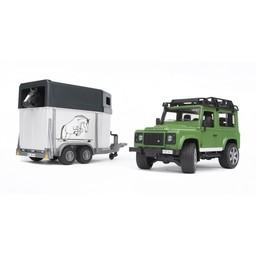 Bruder Land Rover Defender mit Pferdeanhänger und Pferd 1:16