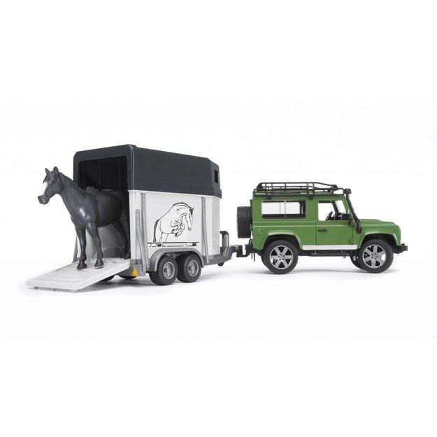 Bruder Bruder Land Rover Defender mit Pferdeanhänger und Pferd 1:16