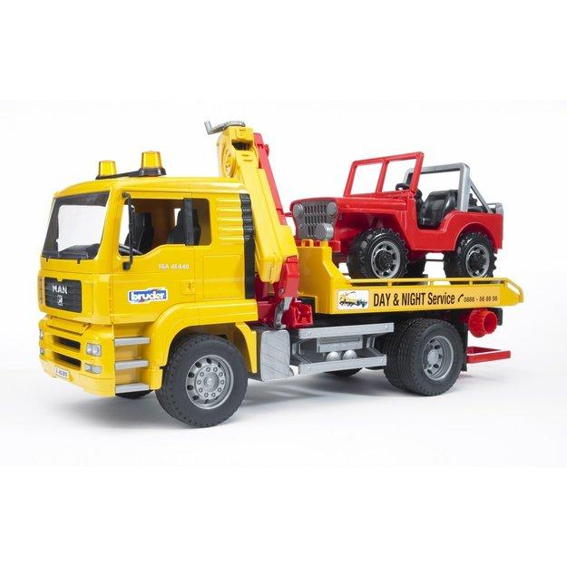 Bruder Bruder MAN TGA Abschlepp LKW mit Geländewagen 1:16