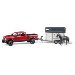 Bruder RAM 2500 Power Wagon mit Pferdeanhänger + Pferd 1:16