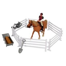 Kids Globe Pferdekoppel mit Reiter und Pferd 1:24