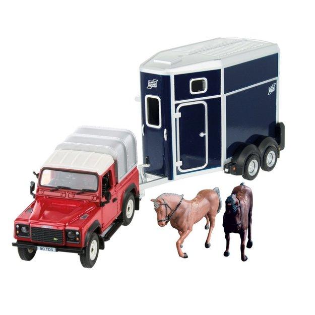 Britains Britains Land Rover Defender 90 mit Pferdeanhänger 1:32