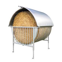 Köhler Rundballenraufe mit Dach - für gehörnte Tiere