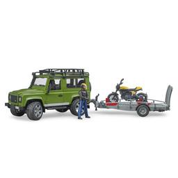 Bruder Land Rover Defender mit Anhänger, Scrambler Ducati Full Throttle und Fahrer 1:16