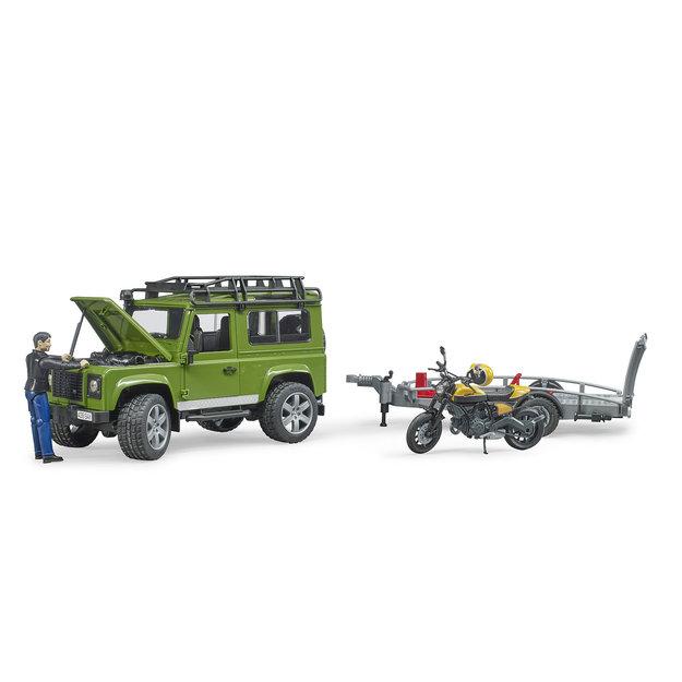 Bruder Bruder Land Rover Defender mit Anhänger, Scrambler Ducati Full Throttle und Fahrer 1:16