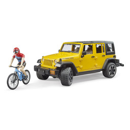 Bruder Jeep Wrangler Rubicon Unlimited mit Mountainbike und Radfahrer 1:16