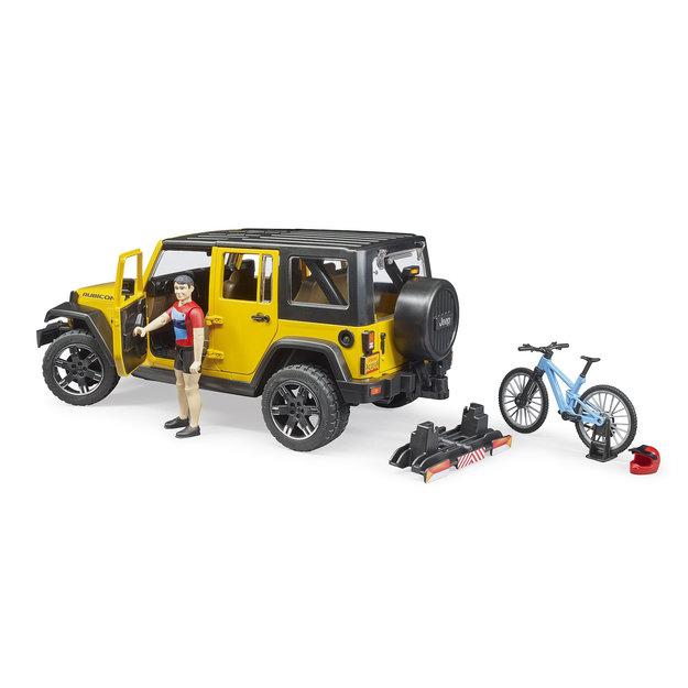 Bruder Bruder Jeep Wrangler Rubicon Unlimited mit Mountainbike und Radfahrer 1:16