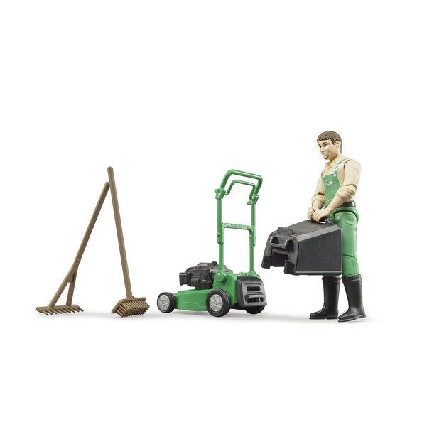 Bruder Bruder Gärtner mit Rasenmäher und Gartengeräten 1:16