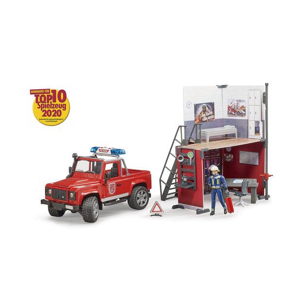 Bruder Bruder Feuerwehrstation mit Land Rover Defender 1:16