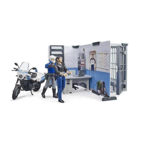 Bruder Bruder Polizeistation mit Polizeimotorrad 1:16
