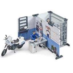 Bruder Polizeistation mit Polizeimotorrad 1:16