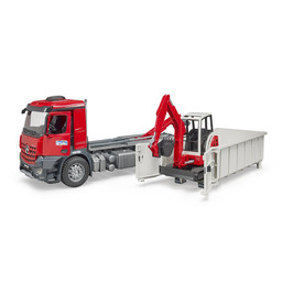 Bruder MB Arocs LKW + Abrollcontainer + Bagger 1:16