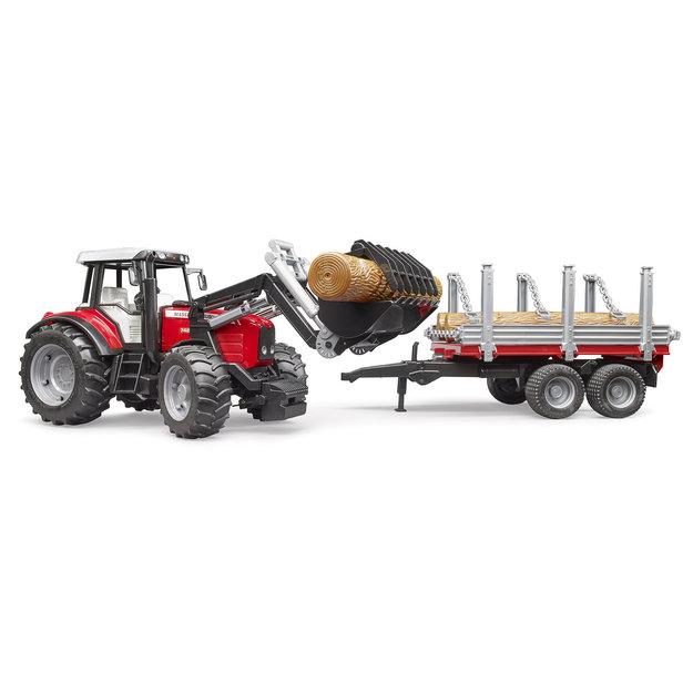 Bruder Bruder Traktor MF 7480 + Frontlader + Anhänger 1:16