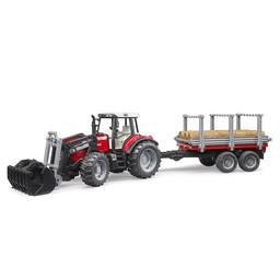 Bruder Traktor MF 7480 + Frontlader + Anhänger 1:16
