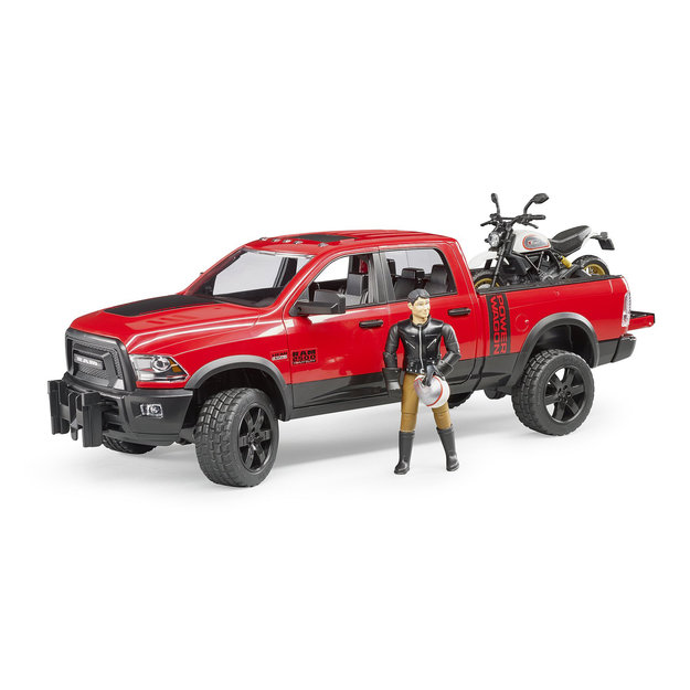 Bruder Bruder RAM 2500 Power Wagon + Motorrad + Fahrer 1:16